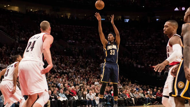Indiana Pacers center Myles Turner (33) shoots a basket in a game against the Portland Trail Blazers at Moda Center at the Rose Quarter.