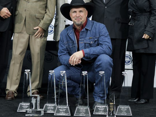 Country music star Garth Brooks is honored at a special presentation by the Recording Industry of America Association Nov. 5, 2007 in Los Angeles. According to the RIAA, Brooks is the number one selling solo artist in U.S. history with over 123 million albums sold.