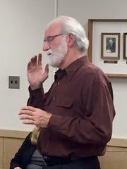Jerry Kalinoski speaks to Lebanon City Council about the city's littering problem Monday night.