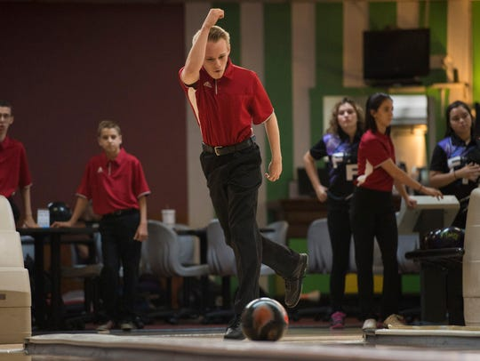 Vero Beach's Dylan Steeman bowls during his match against