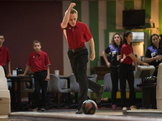 Vero Beach's Dylan Steeman bowls during his match against Fort Pierce Central at Saint Lucie Lanes on Thursday, August 24, 2017 in Port St. Lucie.