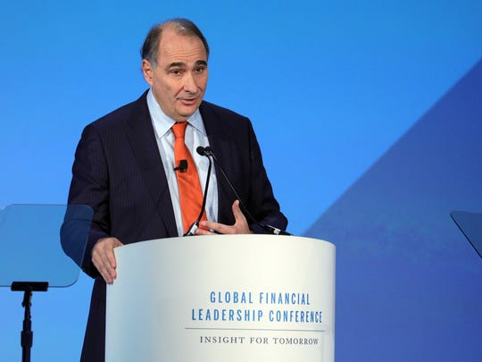 David Axelrod, Axelrod — chief strategist for Barack Obama's 2008 and 2012 presidential campaigns — addresses the Global Financial Leadership Conference on Nov. 14, 2017, at The Ritz-Carlton Beach Resort in Naples.