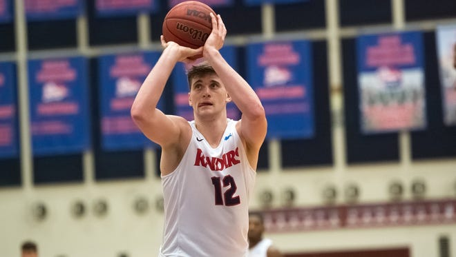 Shippensburg University's Dustin Sleva, in action earlier this season, scored 20 points and had 12 rebounds to help the Raiders win their first-ever NCAA playoff game Saturday, 79-59 over Virginia Union.