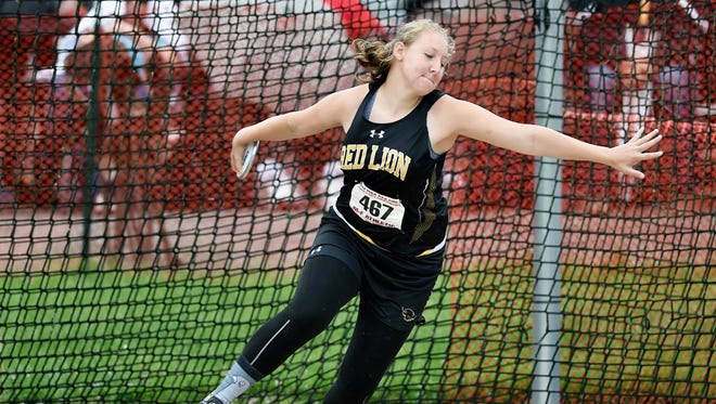 Red Lion's Madisen Kling won a PIAA championship in 2017 with a discus throw of 141 feet, 3 inches .