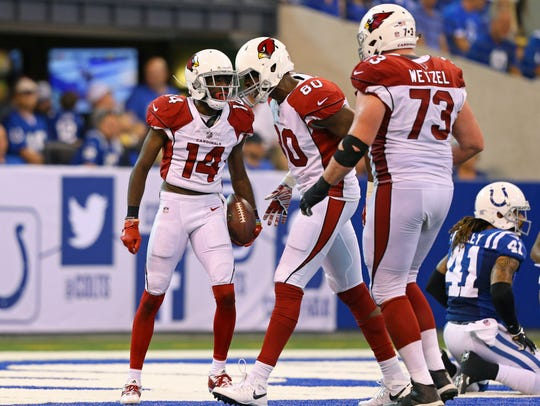 Cardinals wide receiver J.J. Nelson (14) reacts with