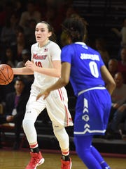 Marist College's Maura Fitzpatrick dribbles during