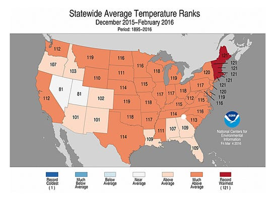 States in red had a record warm winter, while states