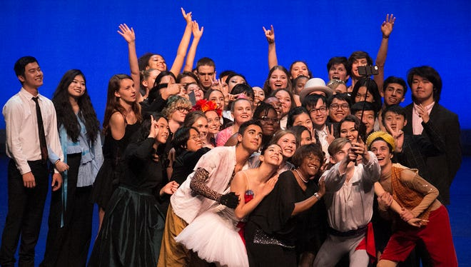 Photo of Performers on stage at the Idyllwild Arts Academy's 2017 Student Showcase with Pamela Jordan, president and head of School of Idyllwild Arts Foundation.