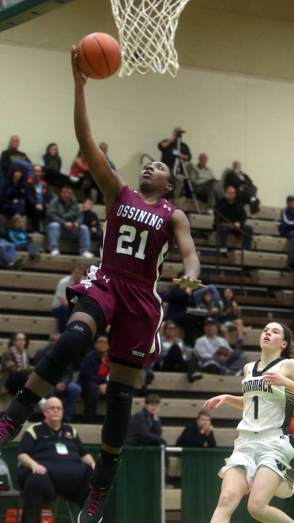 Ossining's Shadeen Samuels led all scorers with 32 points as Ossining defeated Commack 72-55 in a Class AA state semifinal  at Hudson Valley Community College in Troy on Friday.
