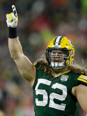 Green Bay Packers linebacker Clay Matthews (52) celebrates a fourth quarter sack against San Francisco 49ers quarterback C.J. Beathard (3) during their football game Monday, Oct. 15, 2018, at Lambeau Field in Green Bay, Wis. Dan Powers/USA TODAY NETWORK-Wisconsin