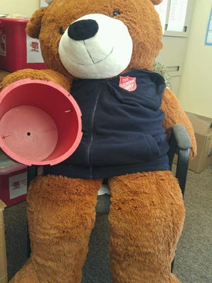 """Beary"" holds an empty Red Kettle. Empty Red Kettles have made several appearances thus far in The Salvation Army of Fond du Lac's Red Kettle Campaign. As many as eight Red Kettles of the 17 collection kettle locations have been empty at the end of a collection day, creating collection crisis."