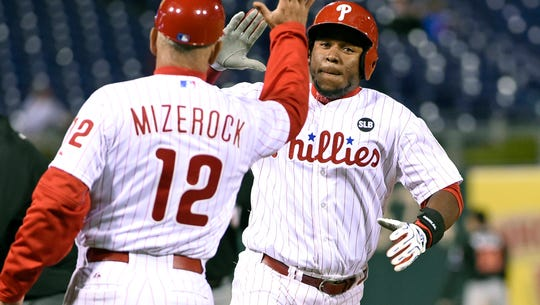 Phillies third baseman Maikel Franco celebrates with
