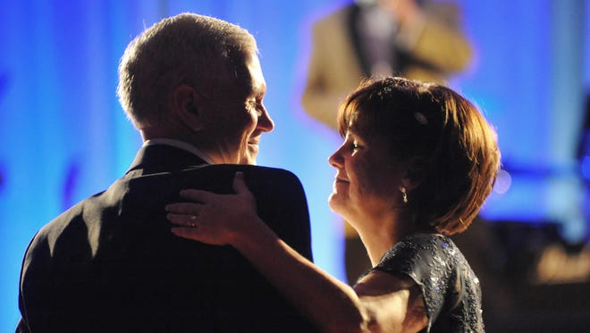 Governor-elect Mike Pence and his wife, Karen, danced to the music of The Impalas  at the Pence-Ellspermann Inaugural Ball Dinner and Dance at the J.W. Marriott in Indianapolis on Jan. 12, 2013.