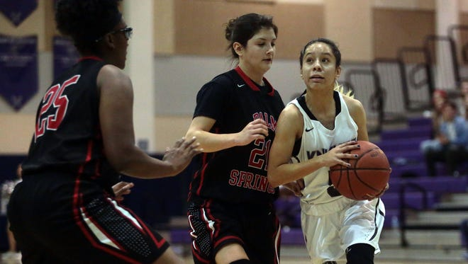 Shadow Hills and Palm Springs girls' basketball action on Friday, January 6, 2016 in Indio.