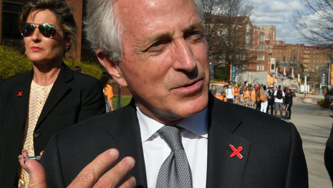 Senator Bob Corker stopping at a campus campaign Thursday, Feb. 22, 2018 to raise awareness about modern day slavery and human trafficking.