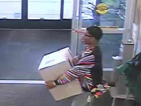 Police say a man (pictured) stole a sewing machine