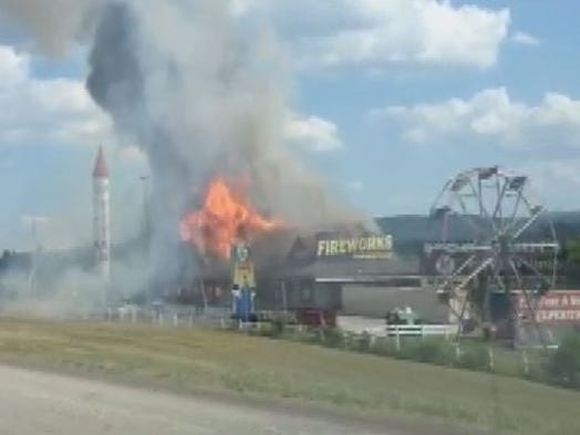 The Fireworks Superstore was open when a fire began over the Fourth of July weekend. Those inside made it out safely.