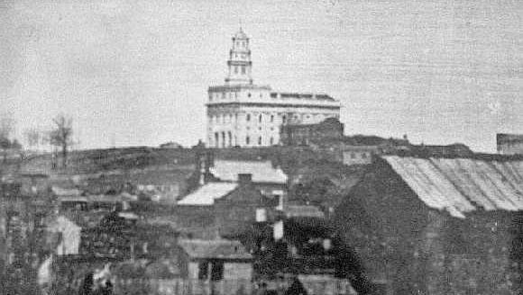1 Very early image of the Nauvoo Mormon Temple in Nauvoo, Illinois designed and constructed by William Weeks.