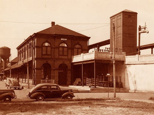 The Elmira Erie depot, shown sometime after the elevation of the tracks through the city in the mid-1930s. The station, which dates back to the late 1800s, is the only remaining passenger depot in Elmira. The station is located on Railroad Avenue.