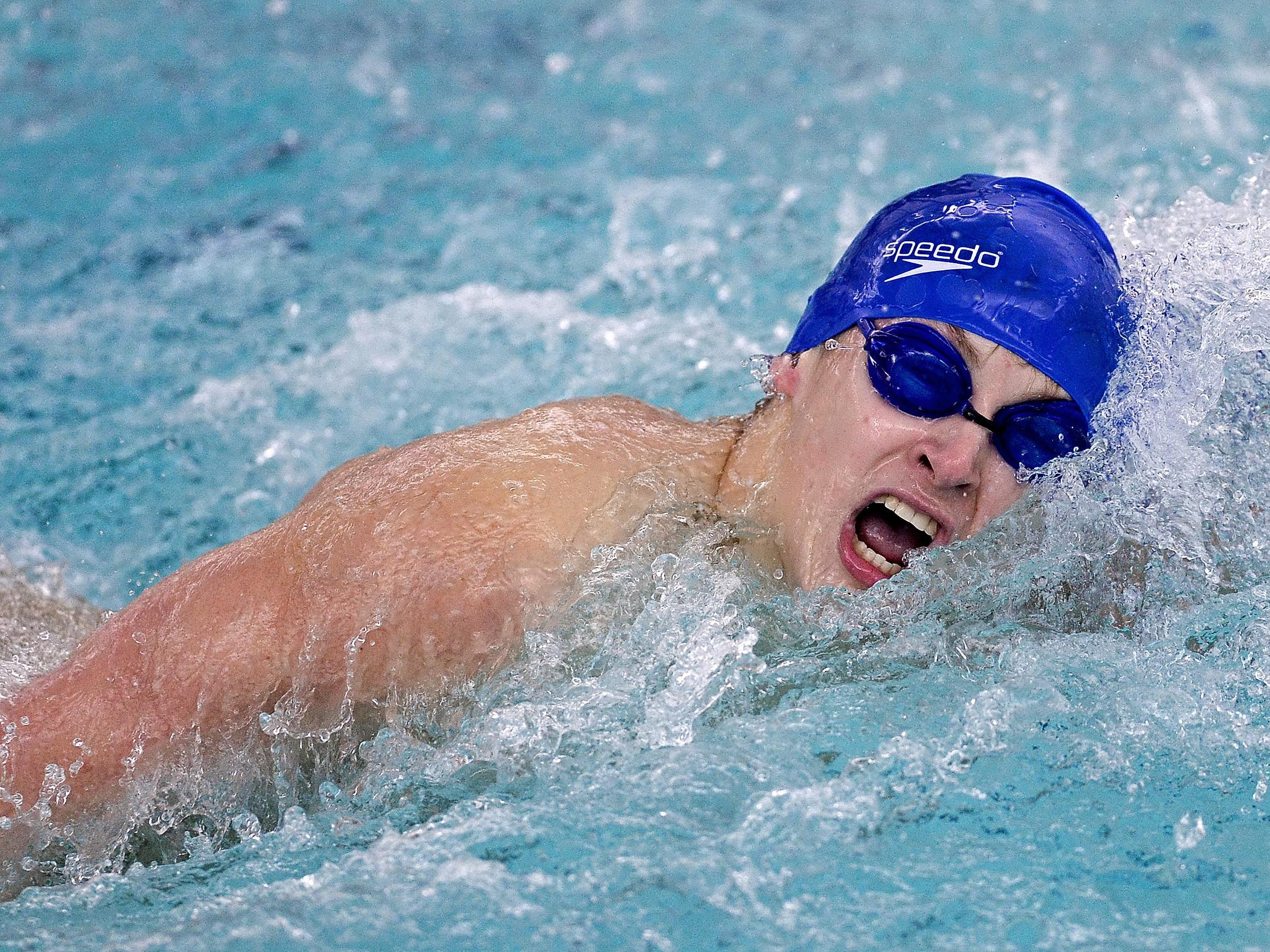 Brockport's Bruce Kane swims the 100 yard freestyle during a meet at Brockport High School on Thursday, Jan. 8, 2016.