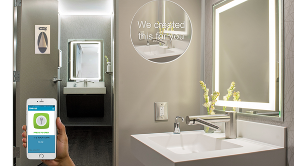 Bathroom App this app helps users find clean public bathrooms