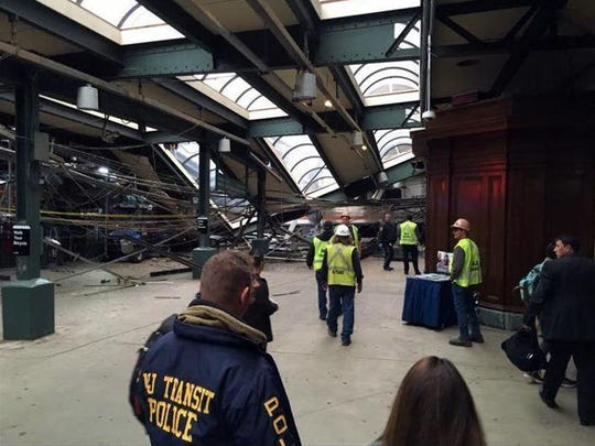 This photo provided by Brian Farnham shows the inside of the Hoboken terminal after a commuter train crash on Thursday, Sept. 29, 2016, in Hoboken.
