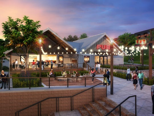 Rendering shows a restaurant concept for new development