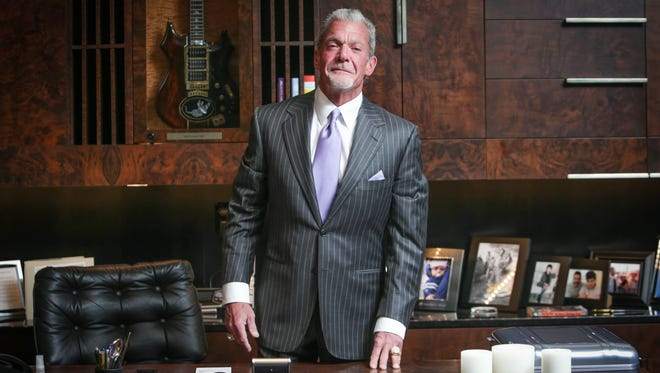 Indianapolis Colts owner and CEO Jim Irsay, in his office, at the Indiana Farm Bureau Football Center as he sat down with The Star's Bob Kravitz for an exclusive interview.