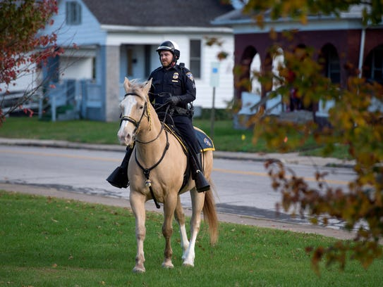 Sergeant Tyrone Wood rides the horse Blondie before