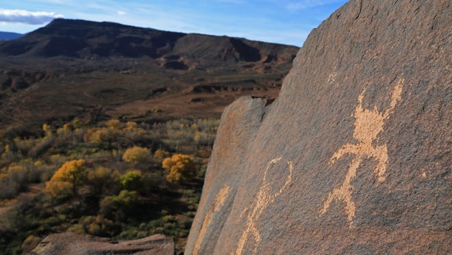 Petroglyphs at the Land Hill Site near Ivins City look over the Santa Clara River far below.