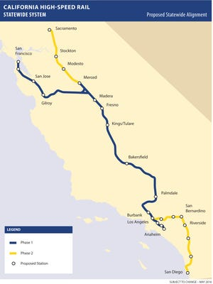 This map shows the first and second phases of the state's high speed rail plan.