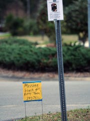 Missing cat signs posted at Fox Rd. and Dunwwody Dr. in Cordova Park. Coyotes are the suspected culprits.