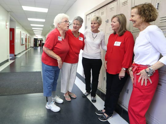 Kathy Coughlin, from left, Sarah Harrison, Betsey O'Kelley,