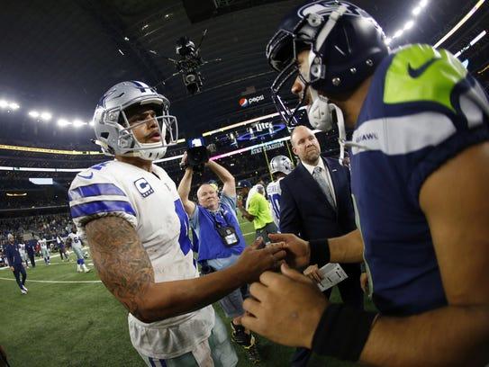 Dallas Cowboys' Dak Prescott and Seattle Seahawks'