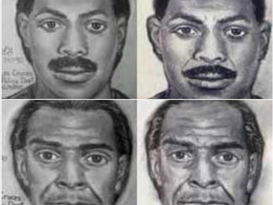 An artist's rendering of the Las Cruces Bowl mass shooting suspects in 1990 (top) and what they might have looked like in 2015 (bottom).