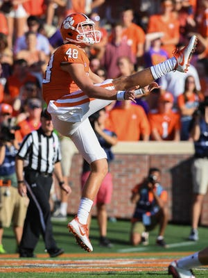 Clemson punter Will Spiers (48) punts against Boston College during the 3rd quarter on Saturday, September 23, 2017 at Clemson's Memorial Stadium.