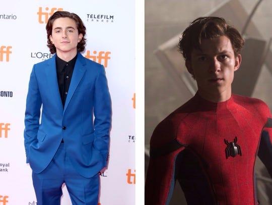 Timothée Chalamet (left) and Tom Holland as Peter Parker/Spider-Man