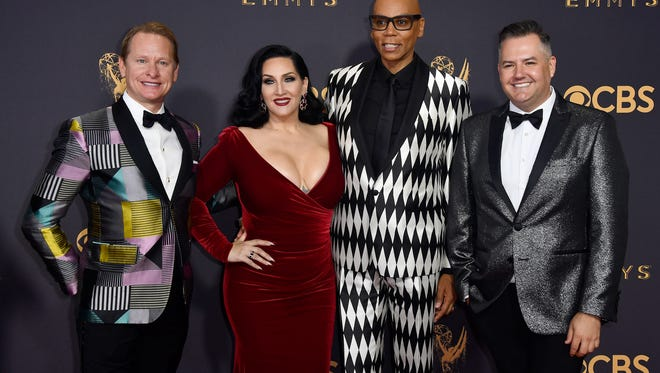 TV personalities Carson Kressley, Michelle Visage, RuPaul and Ross Mathews attend the 69th Annual Primetime Emmy Awards at Microsoft Theater on September 17, 2017 in Los Angeles, California.