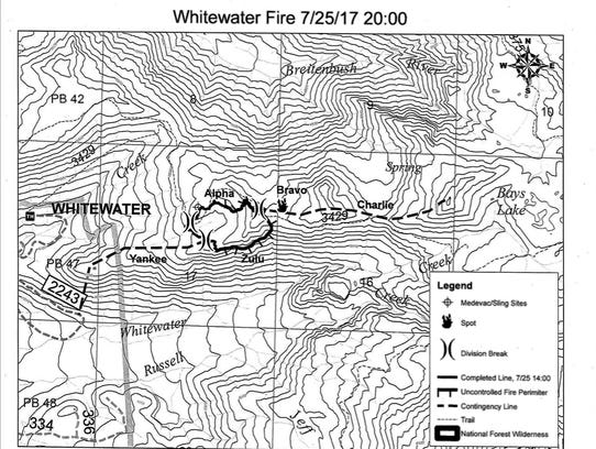 Map of the Whitewater Fire on July 25.