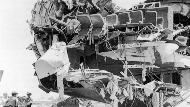 Delta Flight 191 crashed short of the runway at Dallas/Fort Worth International Airport Aug. 2, 1985. Twenty-seven people survived the disaster.