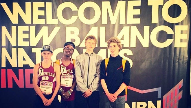 The Asheville High boys 3,200-meter relay placed 16th at the New Balance Nationals Indoor track meet Saturday in New York.
