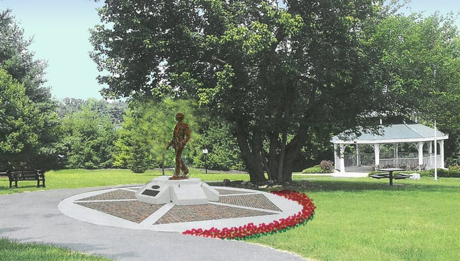 A rendering shows the new statue of Kentucky Gov. Lawrence Wetherby in Wetherby Park, next to Middletown City Hall on Old Shelbyville Road.