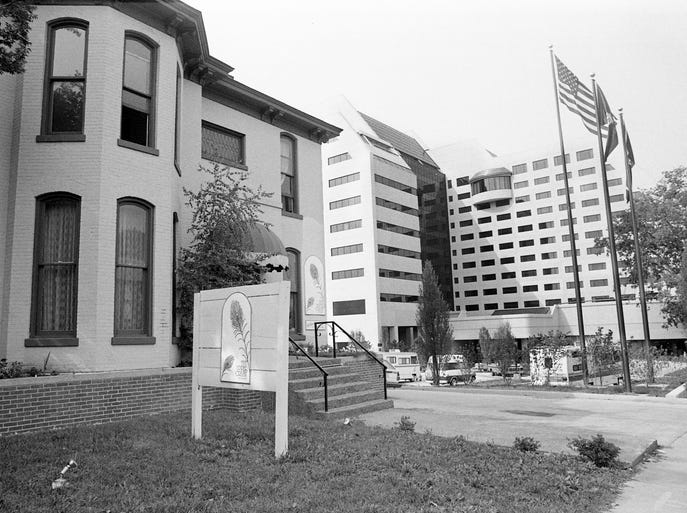 The Upper Crust restaurant site, left, seen on July 2, 1984, has been purchased for the Vanderbilt Plaza complex and offers have been made on two adjoining West End properties for possible use as additional parking or other developments.