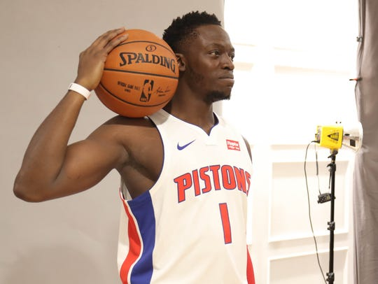 Pistons' Reggie Jackson is photographed at media day