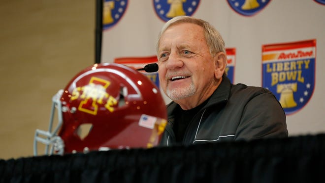 Iowa State Cyclones defensive coach Wally Burnham talks with the media during a press conference in Memphis Saturday.