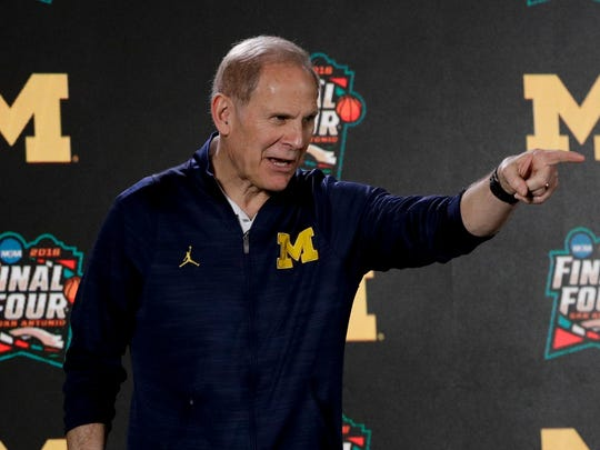 Michigan head coach John Beilein answers questions after a practice session for the Final Four on Thursday.