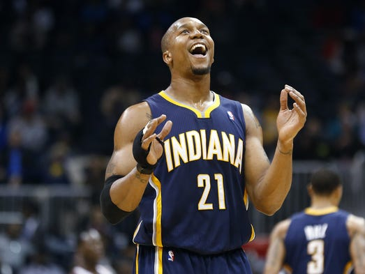 Indiana Pacers power forward David West (21) reacts late in the second half of an NBA basketball game against the Atlanta Hawks, Tuesday, Feb. 4, 2014, in Atlanta. Indiana won 89-85.  (AP Photo/John Bazemore)