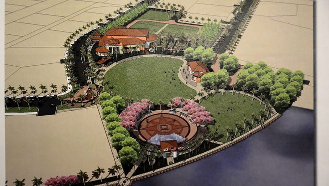 A bird's eye view illustration from 2009 shows a concept for Veterans' Community Park buildout.