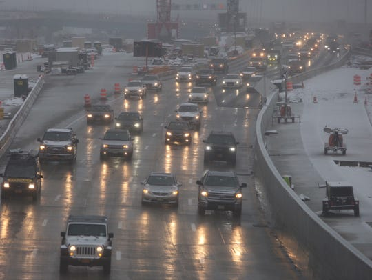 Motorists drive east off the Gov. Mario M. Cuomo Bridge