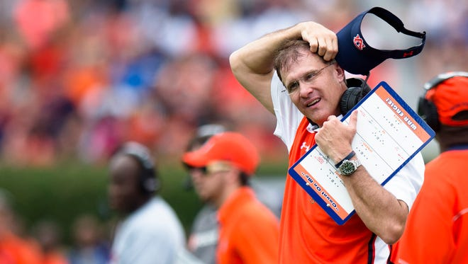 Auburn Tigers head coach Gus Malzahn reacts to Auburn Tigers defensive back Blake Countess (24) being ejected during the first half of the NCAA Auburn vs. Jacksonville State on Saturday, Sept. 12, 2015, in at Jordan-Hare Stadium in Auburn, Ala.
